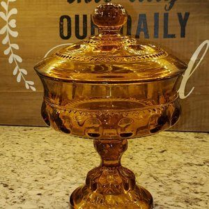 Vintage Amber Indiana Glass Kings Crown Compote